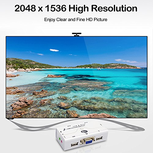 CKL 21UA USB 2.0 VGA KVM Switch with USB Hub + Cables Support Audio Microphone 2048x1536 (2 Port Manual) by CKL (Image #5)'