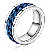 Mens Ring Bands Silver Plated Curb Chain 8MM Width Blue Size 11 Wedding Bands