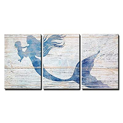 Professional Creation, Fascinating Expert Craftsmanship, Mother Mermaid and Baby Mermaid on Rustic Wood Background (Stye 2) x3 Panels