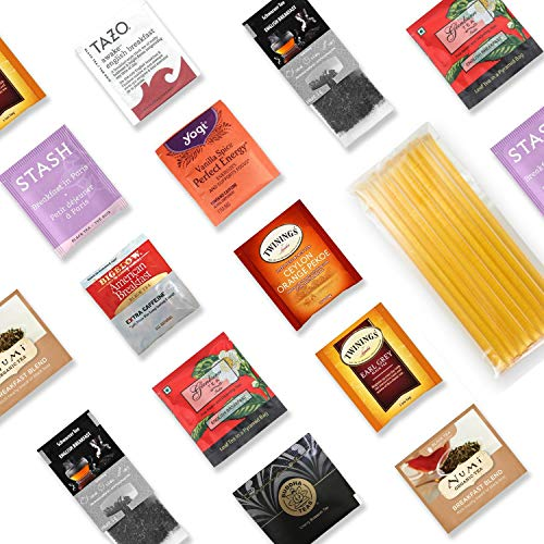 Black Tea Sampler Kit - 40+ Servings Hearty Breakfast Black Tea Bags Assortment with 10 Honey Sticks. Perfect Sampler Gift for Tea Lovers. Best Tea Gift.