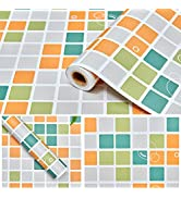 Coavas Kitchen Wallpaper Oil Proof Sticker Colour Square Frosted Paper Waterproof Peel and Stick ...