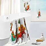 Auraise Home personalized bath towel set Christmas celebrations,dances,songs in winter Cheerful holiday in winter of people Super Soft,Machine Washable 19.7''x19.7''-13.8''x27.6''-31.5''x63''