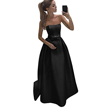 66fefd8e1acb Harsuccting Strapless Backless Bow Tie Long Satin Prom Dress Bridesmaid  Dress Black 2