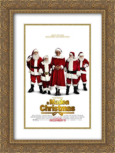 Tyler Perry's A Madea Christmas 18x24 Double Matted Gold Ornate Framed Movie Poster Art - Tyler Galleria Of
