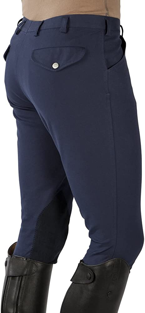 braun oder wei/ß aus w/ärmenden und k/ühlendem Material Pfiff Kniebesatz Reithose -Clima- f/ür Herren in blau