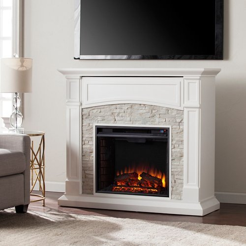 Southern Enterprises Seneca Faux Stone Electric Fireplace TV Stand