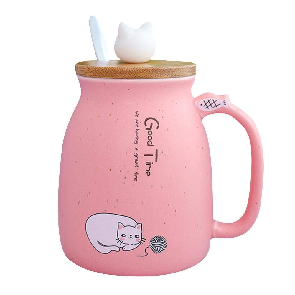 Bettying Tasse Chat Tasse en C/éramique avec Couvercle et Cuill/ère en Bois Dessin Anim/é Tasse /à Caf/é Tasse deau De Lait Chaton pour Les Cadeaux De Bureau Les Enfants