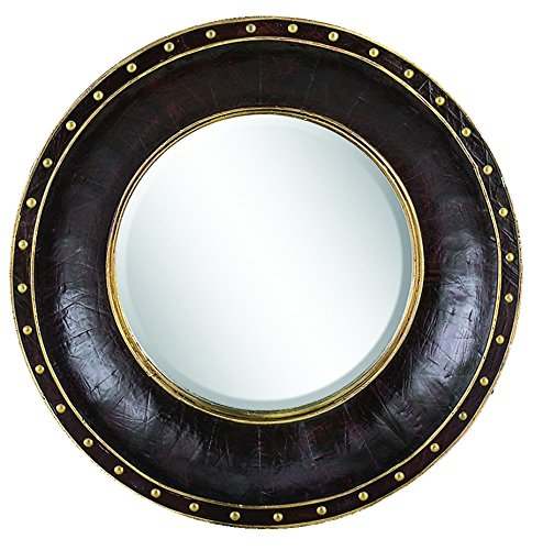 Benzara 89105 Wood Leather Mirror