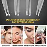 Tweezers Precision for Eyebrows, Terresa 4 Pack