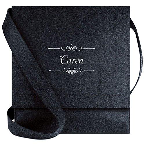 Halfar® Tasche mit Namen Caren bestickt - personalisierte Filz-Umhängetasche RbFaCjdek