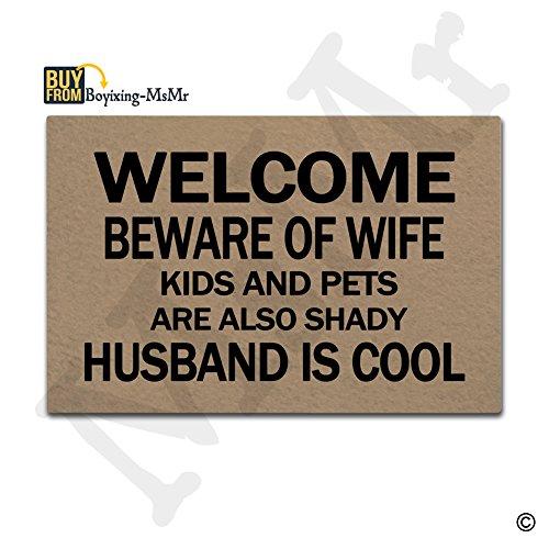 MsMr Doormat Entrance Floor Mat Beware Of Wife Kids And Pets...