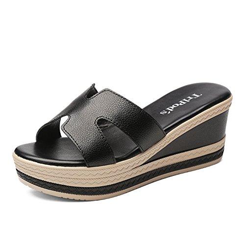 Sandales Zhirong Chaussure Fond Épais Bout Ouvert La Mode Des Femmes De Type D'été Pantoufles H Pente Román 6cm (couleur: Noir, Taille: Eu37 / Uk4.5-5 / Cn37) Noir