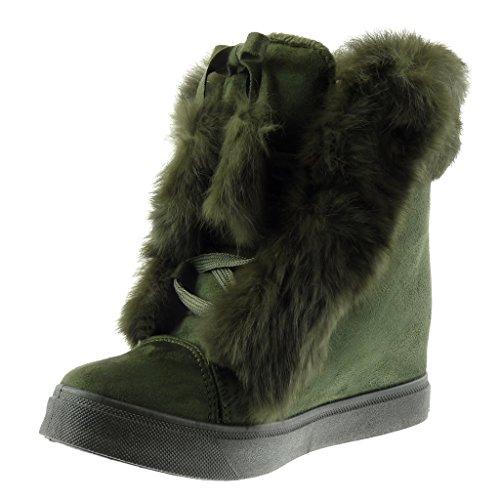 Angkorly - damen Schuhe Sneaker Keilabsatz - Pelz - Knoten - Bommel Keilabsatz 7 CM Grüne