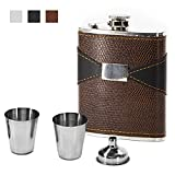 Natwag Flask 7 OZ- Stainless Steel Flask with Leather Wrapped Cover and 100% Leak Proof, Funnel and Shot Glass Included