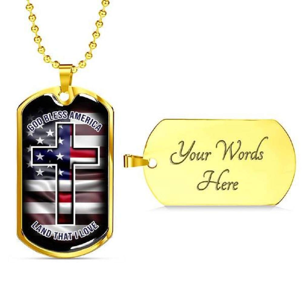 Express Your Love Gifts God Bless America Stainless Steel Silver Tone or 18k Gold Luxury Dog Tag Necklace w 24'' Ball Chain Box Packaged (Gold-Plated-Stainless-Steel engravable)