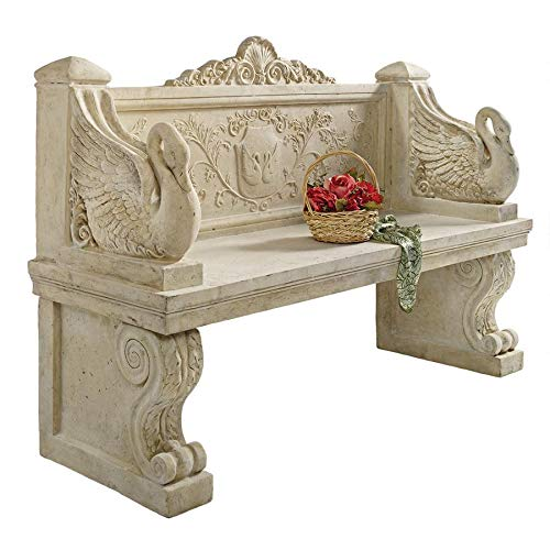 Design Toscano NE90080 Neoclassical Swan Outdoor Garden Bench Seat, 5 Foot, Ancient Ivory (Garden Seats Stone)