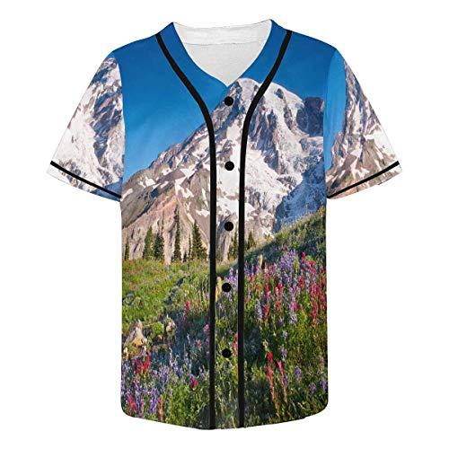 InterestPrint Men's Mt Rainier National Park Wildflowers Summer Time Cascade Mountain Wilderness Baseball Jersey Button Down T Shirts M