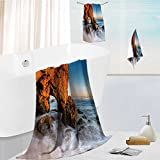 Homesonne 100% Cotton 3 Piece Bath Towel Sets-Beautiful Golden cave and Rocks at