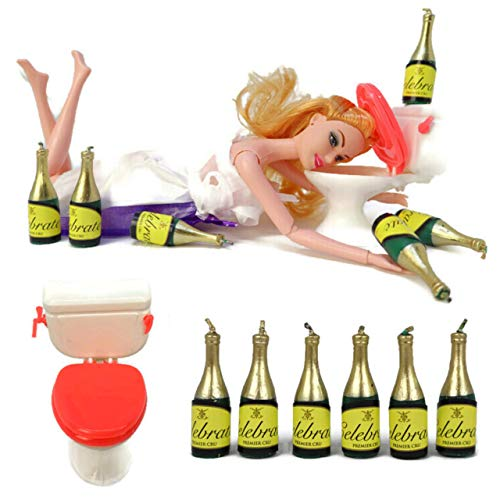 Drunk Doll Cake Toppers Funny | Decoration Kit for Celebrating a Bachelorette Party or any Birthday 21 and Up (8 Piece Set)(Not Edible)(Barbie like)(Blonde)