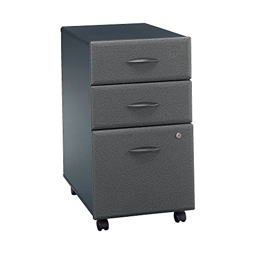 Bush Business Furniture Series A 3 Drawer Mobile File Cabinet in Slate and White - File Series Cabinet Mobile
