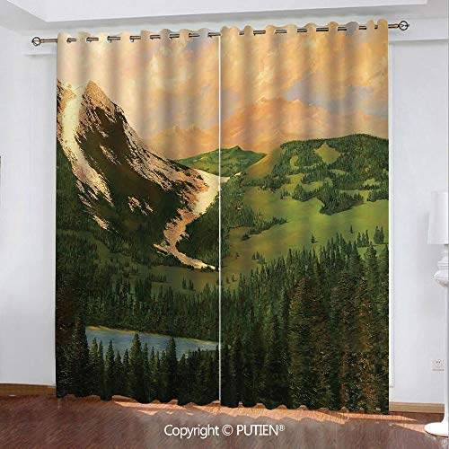 Satin Grommet Window Curtains Drapes [ Country Decor,Rural Scenery in the Valley with Cloudy Sky on Northern Lands Lake Mod Nature Painting,Green Ecru ] Window Curtain for Living Room Bedroom Dorm Roo