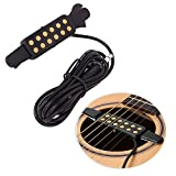 guitars acoustic electric - Luvay Guitar Pickup Acoustic Electric Transducer for Acoustic Guitar, Cable Length 10' (Gold)