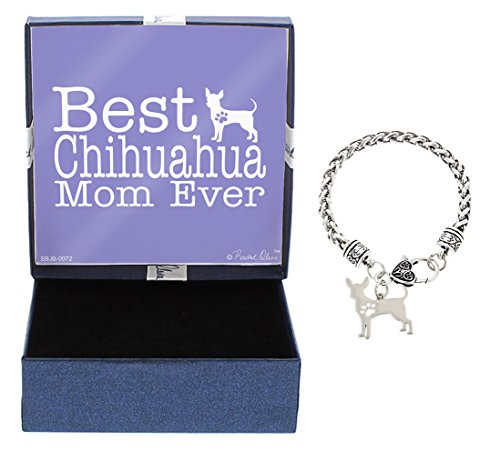 Mother's Day Gifts Best Chihuahua Mom Ever Chihuahua Bracelet Gift Silhouette Charm Bracelet Silver-Tone Bracelet Gift for Chihuahua Owner Jewelry Box Mothers Day Gift Idea Gift For Mom