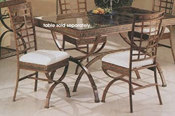 Set Of 4 Egyptian Brown Metal Frame Dining Room Chair Chairs W Cushion Seats