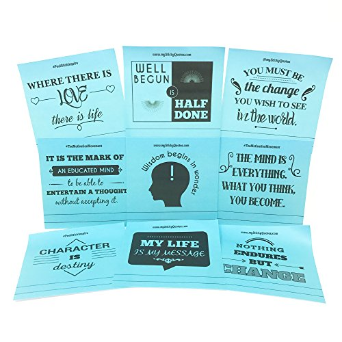 Sticky Notes Words of Wisdom Inspirational Quotes - Perfect for Quote of the Day & On The Go Inspiration - 2 Pads 50 Sheets/Pad 50 Unique Quotes & Designs - Blue Notes (Words Of Wisdom Quote Of The Day)