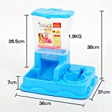 MaruPet Dual Port Pet Dog Cat Bowl,Removable pet Food Water Feeder with Automatic Feeder Dispenser Meal Tray Animal Water Bottle Food Bowl Portion Control Blue