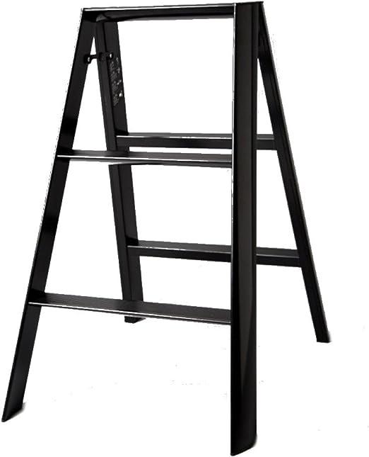 ANHPI Silla De Escalera Plegable Aleación De Aluminio 2 Pasos Escalera Unilateral Portátil Gruesa Estantes De Escalera Multifuncionales Interior Y Exterior,Black-3Steps: Amazon.es: Hogar
