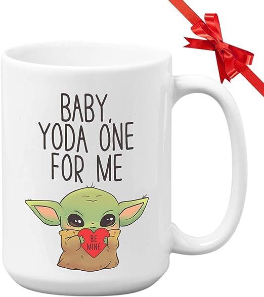 Amazon Com Baby Yoda Coffee Mug Baby Yoda One For Me Star Wars Coffee Mug Anniversary Gift For Husband Wife Boyfriend Girlfriend Valentines Coffee Mug For Men Women Kitchen Dining