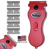 Werxrite RetraGuard Razor Blade Scraper Tool - Stovetop Cooktop Glass Ceramic Metal Scraper - Sticker Glue Paint Adhesive Decal Scraper + 5 Replacement Scraper Blades - USA Made