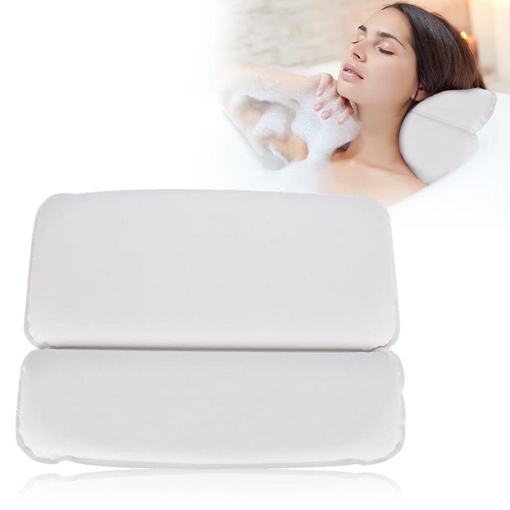 Bath Pillow, Soft PU Non-slip Spa Bath Pillow for Head Neck and Back Support Foam Inner Stuff Padding Waterproof Bathtub Headrest, Providing a Relaxing Experience in Your Own Home
