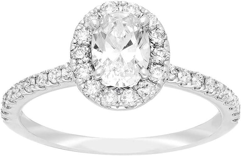 Round Cut Halo Ring 14K White Gold Finish 1.25 Carat Diamond Engagement Wedding