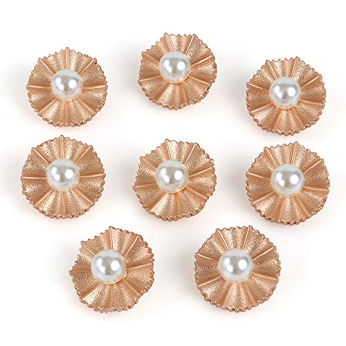 (XinRui 8 Pcs Premium Electroplated Metal Gold Tone Buttons with Austrialia Pearl (Frosted Gold A) )