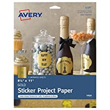 "Avery Gold Full-Sheet Sticker Project Paper, For Inkjet Printers, 8-1/2""x11"", 5 Sheets (4395)"