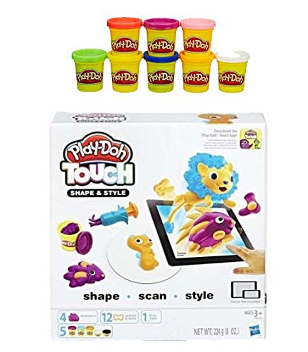 Play-Doh Rainbow Starter Pack Bundle PD Play-Doh Touch Shape and Style Set