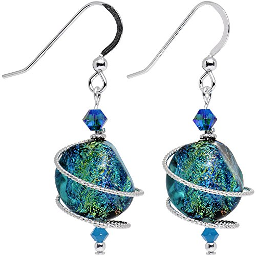 Green Dichroic Glass Earrings (Body Candy Handcrafted 925 Silver Tealish Dichroic Dangle Earrings Created with Swarovski Crystals)