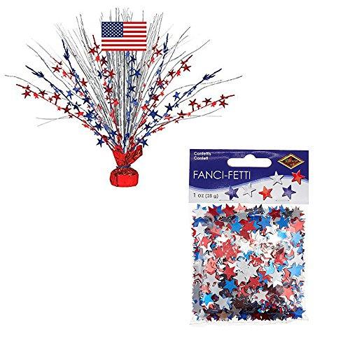 Patriotic Party Decor Set - Amscan Foil Spray Centerpiece Bundled with Beistle Fanci-Fetti Stars ()
