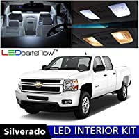 LEDpartsNow Chevy SILVERADO 2007-2013 Xenon White Premium LED Interior Lights Package Kit (12 Pieces) +TOOL