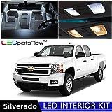 LEDpartsNow Chevy SILVERADO 2007-2013 Xenon White Premium LED Interior Lights Package Kit (12 Pieces) + Install Pry Tool