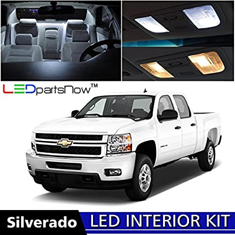 LEDpartsNow 2007-2013 Chevy Silverado LED Interior Lights Accessories Replacement Package Kit (12 Pieces), WHITE +TOOL