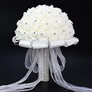 Antrader White Rhinestone Ribbon Bridal Wedding Bouquet Handmade Artificial Silk Holding Flowers for Wedding 35