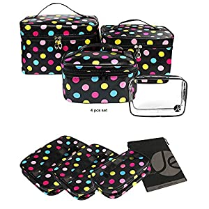 JAVOedge (4 PCS SET) Polka Dot Makeup Brush Cosmetic Travel Organizer Bag With Clear PVC Storage Zipper Bag (4 Sizes)