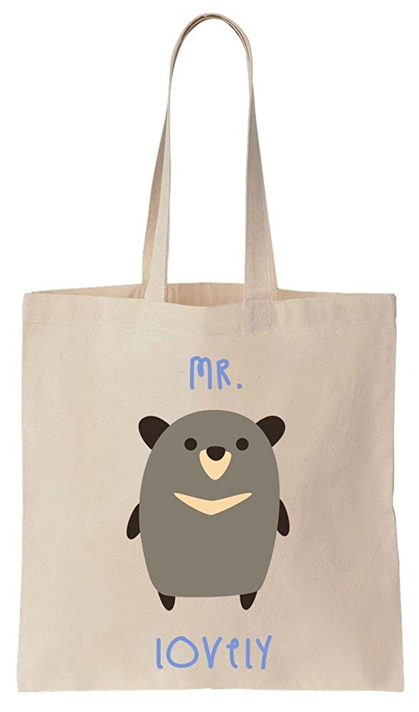 Lovely Cute Grey Bear Cotton Canvas Tote Bag Mr