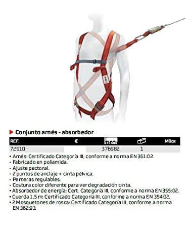 Bellota 72910 - Conjunto Arnes + Absorbedor: Amazon.es: Bricolaje ...