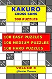 Kakuro Cross Sums - 300 Puzzles - Volume 3: 100 Easy Puzzles - 100 Medium Puzzles - 100 Hard Puzzles