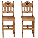 QTY 2 26″ Wood Seat Marble Star Barstool – Western – Rustic Review