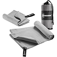 Microfiber Towels Set By Spogears - Gym Towel Set Includes An XL 58x30'' Camping Towel + Small Hand Travel Towel - Compact/Lightweight Swimming Sports Towel - Super Absorbent & Quick Drying Towel